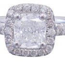 GIA H-VS2 18k White Gold Cushion Cut Diamond Engagement Ring Halo Deco 1.60ctw