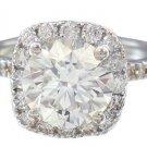 18K WHITE GOLD ROUND CUT DIAMOND ENGAGEMENT RING HALO PRONG SET 2.68CTW