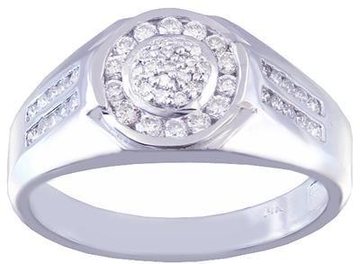 14K WHITE GOLD ROUND CUT DIAMOND MENS BAND RING 0.50CTW