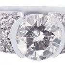 18K WHITE GOLD ROUND CUT DIAMOND ENGAGEMENT RING SEMI BEZEL SET 2.75CTW