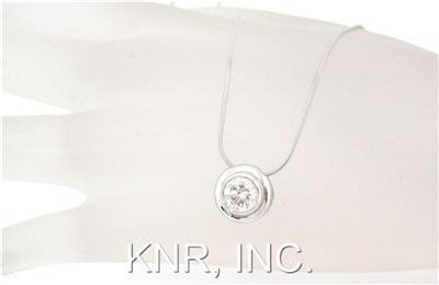 14k White Gold Round Cut Diamond Bezel Set Solitaire Necklace And Chain 0.76ct