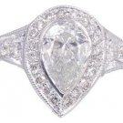 18K WHITE GOLD PEAR SHAPE CUT DIAMOND BEZEL SET ENGAGEMENT RING 2.05CTW