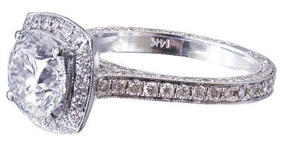 14K WHITE GOLD ROUND CUT DIAMOND ENGAGEMENT RING ART DECO ANTIQUE STYLE 2.70CTW