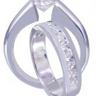 14k White Gold Round Cut Diamond Engagement Ring And Band Tension Set 1.30ctw