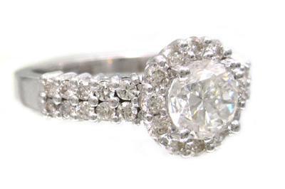 18K WHITE GOLD ROUND CUT DIAMOND ENGAGEMENT RING ART DECI PRONG SET 1.82CTW