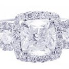 18K WHITE GOLD CUSHION CUT DIAMOND ENGAGEMENT RING ART DECO STYLE 2.28CTW