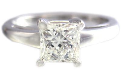 18K WHITE GOLD PRINCESS CUT DIAMOND ENGAGEMENT RING SOLITAIRE PRONG SET 1.00CT