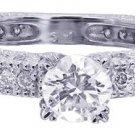 18K WHITE GOLD ROUND CUT DECO ANTIQUE STYLE DIAMOND ENGAGEMENT RING 1.25CTW