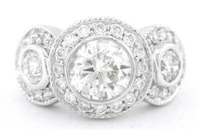 14K WHITE GOLD ROUND CUT DIAMOND BEZEL SET ENGAGEMENT RING THREE STONE 2.00CTW
