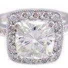 18K WHITE GOLD CUSHION CUT DIAMOND ENGAGEMENT RING ART DECO PRONG SET 1.90CTW