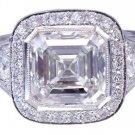 GIA I-VS2 18k White Gold Asscher Cut Diamond Bezel Engagement Ring Deco 3.30ctw