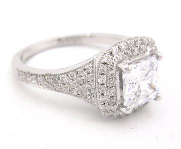 14K WHITE GOLD PRINCESS CUT DIAMOND ENGAGEMENT RING 2.00CT