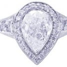 18K WHITE GOLD PEAR SHAPE CUT DIAMOND BEZEL ENGAGEMENT RING 2.35CTW H-VS2 EGL US