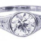 GIA I-SI2 18k White Gold Round Diamond Engagement Ring Bezel Set Deco 0.75ct