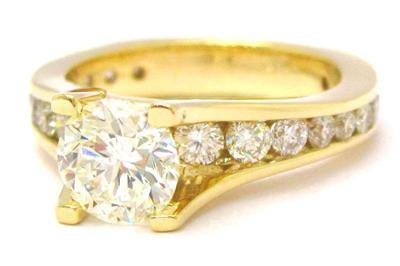14K YELLOW GOLD ROUND CUT DIAMOND ENGAGEMENT TENSION RING 2.15CTW EGL CERTIFIED