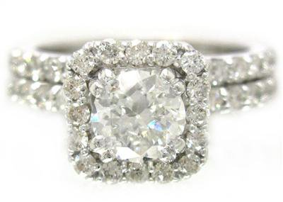 14K WHITE GOLD ROUND CUT DIAMOND ENGAGEMENT RING AND BAND 1.75CTW