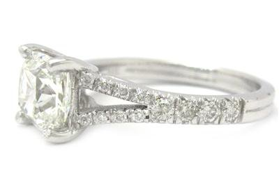14K WHITE GOLD CUSHION CUT DIAMOND ENGAGEMENT RING SPLIT BAND 2.00CTW
