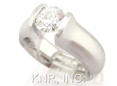 14K WHITE GOLD ROUND DIAMOND ENGAGEMENT RING TENSION DESIGN 1.00CT