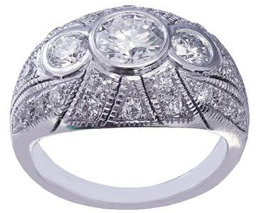 14K WHITE GOLD ROUND CUT DIAMOND ENGAGEMENT RING BEZEL SET 1.75CTW H-VS2 EGL USA