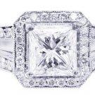 18K WHITE GOLD PRINCESS CUT DIAMOND ENGAGEMENT RING SPLIT BAND PRONG SET 2.10CTW