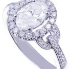 18K WHITE GOLD OVAL CUT  DIAMOND ENGAGEMENT RING ART DECO ANTIQUE STYLE 1.80CTW