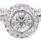 14K WHITE GOLD ROUND CUT DIAMOND ENGAGEMENT RING AND BAND BEZEL SET 1.70CTW