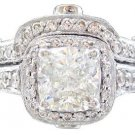 14K WHITE GOLD CUSHION CUT DIAMOND ENGAGEMENT RING AND BAND 2.60CTW