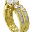 18K YELLOW GOLD PRINCESS CUT DIAMOND ENGAGEMENT RING AND BAND PRONG 2.90CTW