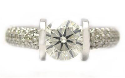ROUND CUT TENSION SET DIAMOND ENGAGEMENT RING 14K WHITE GOLD 1.51CTTW
