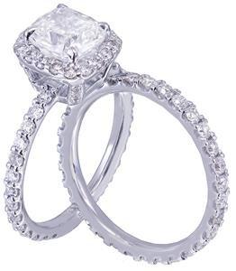 14k White Gold Cushion Cut Diamond Engagement Ring And Band 3.00ct H-VS2 EGL USA