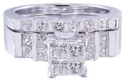 14K WHITE GOLD PRINCESS CUT DIAMOND ENGAGEMENT RING AND BAND PRONG SET 1.65CTW