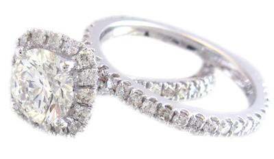 14K WHITE GOLD ROUND CUT DIAMOND ENGAGEMENT RING AND BAND 1.65CTW H-SI1 EGL USA