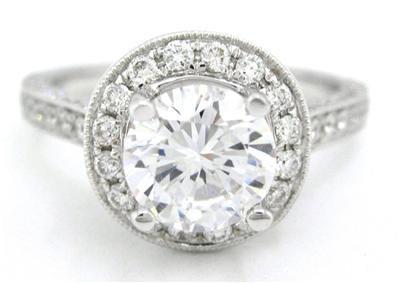 14K WHITE GOLD ROUND CUT DIAMOND ENGAGEMENT RING ART DECO 1.88CTW