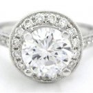 14K WHITE GOLD ROUND CUT DIAMOND ENGAGEMENT RING ART DECO 1.88CTW