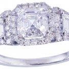 18k white gold asscher cut diamond engagement ring Halo 2.50ctw G-VS2 EGL USA