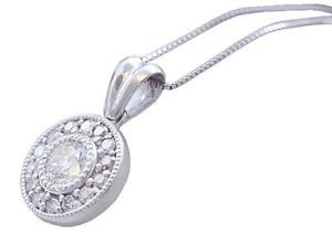 14K WHITE GOLD ROUND CUT DIAMOND BEZEL SET ANTIQUE STYLE NECKLACE 0.61CTW