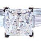 18K WHITE GOLD PRINCESS CUT DIAMOND ENGAGEMENT RING 1.90CTW