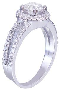 14k White Gold Round Cut Diamond Engagement Ring Split Band Halo Prong 1.50ct
