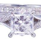 18k White Gold Princess Cut Diamond Engagement Ring And Band 2.10ct H-VS2 EGL US