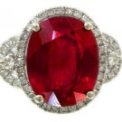 14K WHITE GOLD OVAL RUBY AND ROUND CUT DIAMONDS ANTIQUE DECO DESIGN RING 6.60CTW