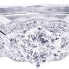 14K WHITE GOLD ROUND CUT DIAMOND ENGAGEMENT RING AND TWO BAND 2.30CTW H-SI1 EGL