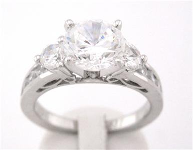 18K WHITE GOLD ROUND CUT DIAMOND ENGAGEMENT RING 1.86CT DECO 18K
