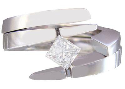 14K WHITE GOLD PRINCESS CUT DIAMOND ENGAGEMENT RING AND BAND TENSION SET 0.50CTW