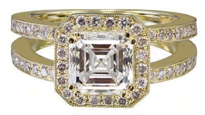 18k Yellow Gold Asscher Cut Diamond Engagement Ring Halo 2.70ctw H-VS2 EGL USA