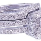 GIA F-VS2 14K white gold princess cut diamond engagement ring and band 2.50ctw