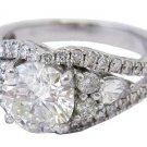 14K WHITE GOLD ROUND CUT DIAMOND ENGAGEMENT RING 1.75CT ART DECO H-VS2 EGL USA