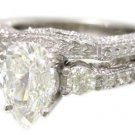 14K WHITE GOLD PEAR SHAPE DIAMOND ENGAGEMENT RING AND BAND ANTIQUE DECO 1.40CTW