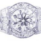 GIA J-SI1 18k White Gold Rounds Cut Diamond Engagement Ring Deco Halo 1.85ctw
