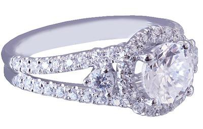 18K WHITE GOLD ROUND CUT DIAMOND ENGAGEMENT RING ART DECO 2.12CT H-VS2 EGL USA
