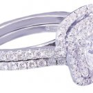 GIA H-VS2 14K White Gold Cushion Cut Diamond Engagement Ring And Band 1.85ct